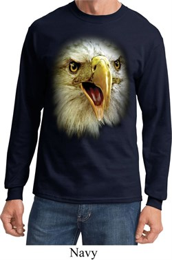 Mens Shirt Big Eagle Face Long Sleeve Tee T-Shirt