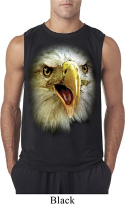 Mens Shirt Big Eagle Face Sleeveless Tee T-Shirt