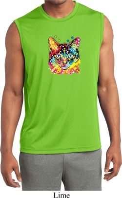 Mens Shirt Blue Eyes Cat Sleeveless Moisture Wicking Tee T-Shirt