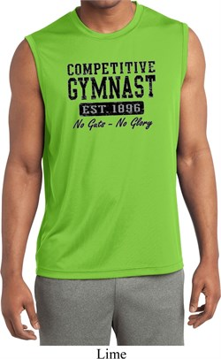 Mens Shirt Competitive Gymnast Sleeveless Moisture Wicking Tee T-Shirt