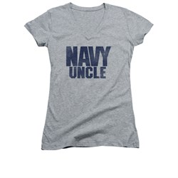Navy Shirt Juniors V Neck Navy Uncle Athletic Heather T-Shirt
