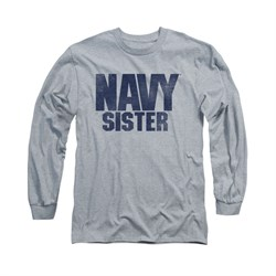 Navy Shirt Navy Sister Long Sleeve Athletic Heather Tee T-Shirt