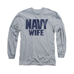 Navy Shirt Navy Wife Long Sleeve Athletic Heather Tee T-Shirt