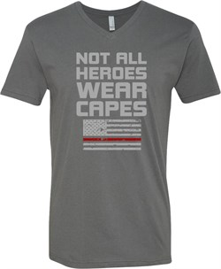 Not All Heroes Wear Capes Firefighter Adult V-Neck T-Shirt