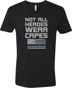 Not All Heroes Wear Capes Police Officer Adult V-Neck T-Shirt