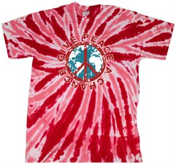 Peace Tie Dye T-shirt Give Peace A Chance Red Tie Dye