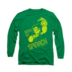 Popeye Shirt Body By Spinach Long Sleeve Kelly Green Tee T-Shirt