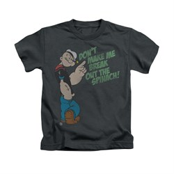 Popeye Shirt Break Out Spinach Kids Charcoal Youth Tee T-Shirt