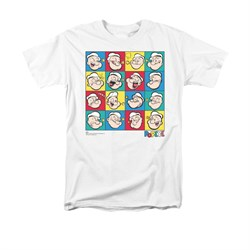 Popeye Shirt Color Block Adult White Tee T-Shirt