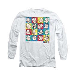 Popeye Shirt Color Block Long Sleeve White Tee T-Shirt