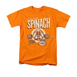 Popeye Shirt Eat Your Spinach Adult Orange Tee T-Shirt