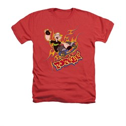 Popeye Shirt Get Air Adult Heather Red Tee T-Shirt
