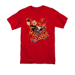 Popeye Shirt Get Air Adult Red Tee T-Shirt