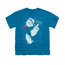 Popeye Shirt Get To The Point Kids Turquiose Youth Tee T-Shirt
