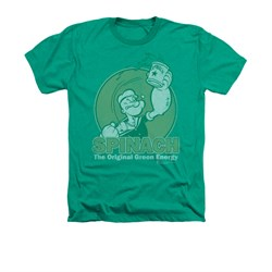 Popeye Shirt Green Energy Adult Heather Kelly Green Tee T-Shirt