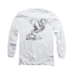 Popeye Shirt Here Comes Trouble Long Sleeve White Tee T-Shirt
