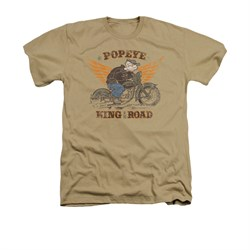 Popeye Shirt King Of The Road Adult Heather Sand Tee T-Shirt