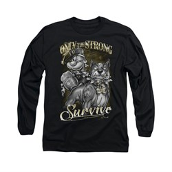 Popeye Shirt Only The Strong Long Sleeve Black Tee T-Shirt