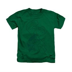 Popeye Shirt Spinach Power Kids Kelly Green Youth Tee T-Shirt