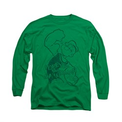 Popeye Shirt Spinach Power Long Sleeve Kelly Green Tee T-Shirt