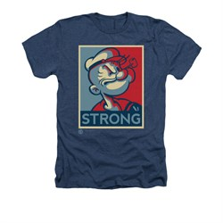 Popeye Shirt Strong Adult Heather Navy Tee T-Shirt