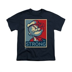 Popeye Shirt Strong Kids Navy Youth Tee T-Shirt
