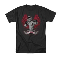Popeye Shirt Undefeated Adult Black Tee T-Shirt
