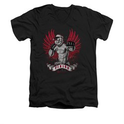 Popeye Shirt Undefeated Slim Fit V Neck Black Tee T-Shirt