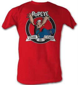 Popeye T-shirt Sailor Man Born To Skate Adult Red Tee Shirt