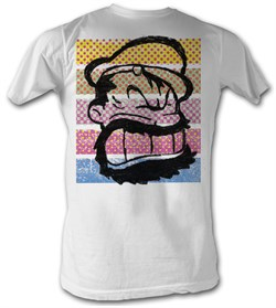 Popeye T-shirt Brutus Color Stripes Adult White Tee Shirt
