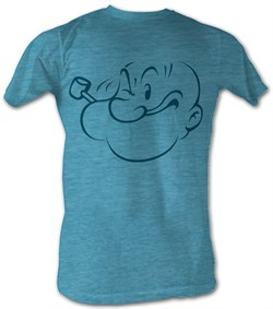 Popeye T-shirt Face Profile Adult Turquoise Tee Shirt