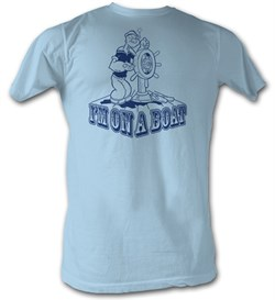 Popeye T-shirt The Sailorman I'm On A Boat Adult Light Blue Tee Shirt