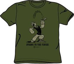 Popeye T-shirt Strong To The Finish Adult Spinach Green Tee