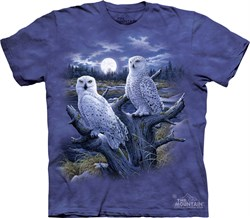 Snowy Owls Shirt Tie Dye Bird Moon T-shirt Adult Tee