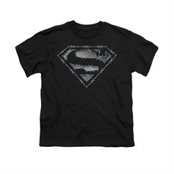 Superman Shirt Kids Barbed Wire Black T-Shirt