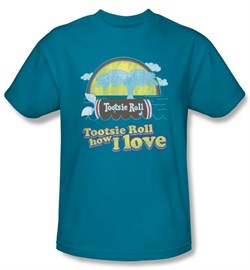Tootsie Roll T-Shirts  Jingle Adult Turquoise Tee