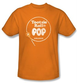 Tootsie Roll T-Shirts  Pop Logo Adult Orange Tee