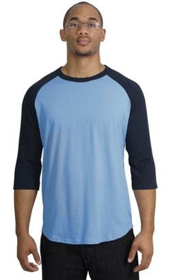 Upscale Sport Tek Big Sizes 3/4 Sleeve Raglan Shirt Carolina Blue Navy