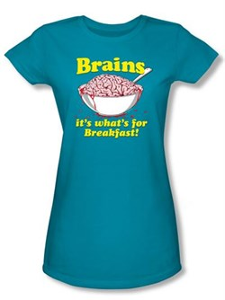 Zombie Juniors T-Shirt Breakfast Time Turquoise Tee Shirt