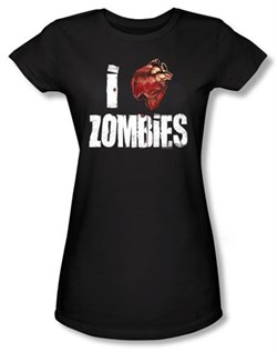 Zombie Juniors T-Shirt I Bloody Heart Zombies Black Tee Shirt