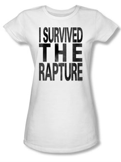 Zombie Juniors T-Shirt I Survived The Rapture White Tee Shirt