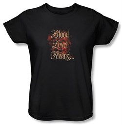Zombie Ladies T-Shirt Blood Level Rising Black Tee Shirt