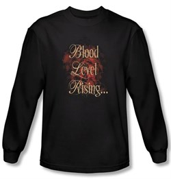 Zombie T-Shirt Blood Level Rising Black Adult Long Sleeve Tee Shirt
