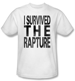 Zombie T-Shirt I Survived The Rapture Adult White Tee Shirt