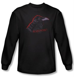 Zombie T-Shirt Nevermore Black Adult Long Sleeve Tee Shirt