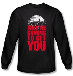 Zombie T-Shirt They're Coming To Get You Black Long Sleeve Tee Shirt